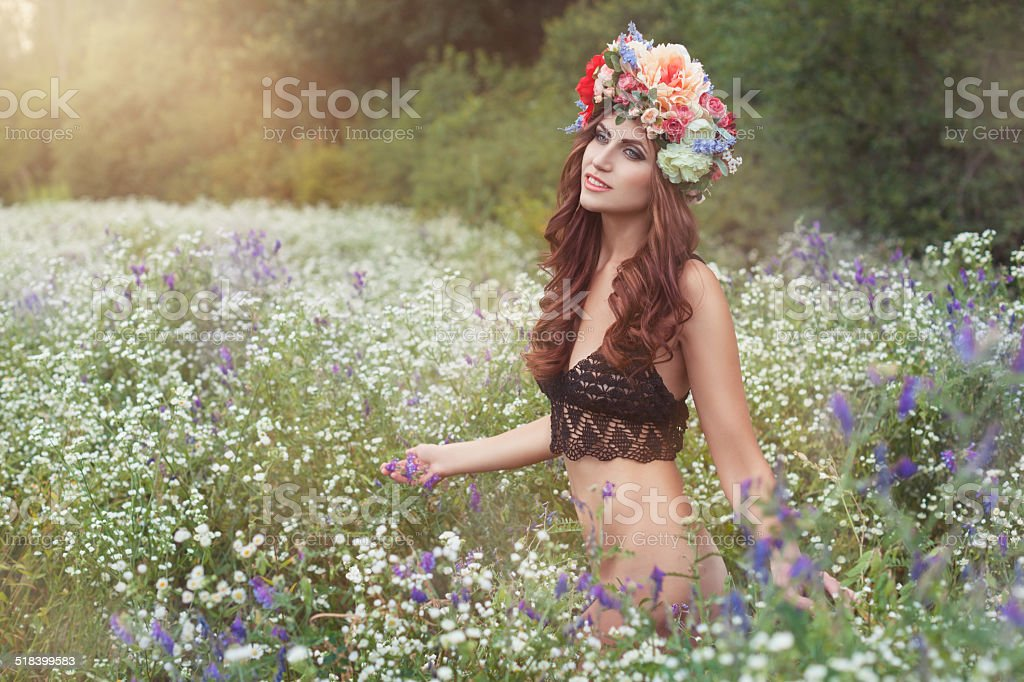 Girl with a wreath of flowers. stock photo