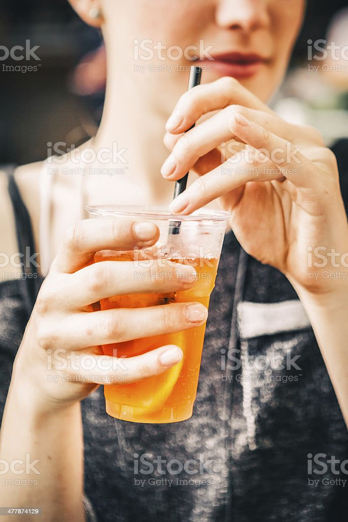 Girl with Alcoholic Aperitif royalty-free stock photo