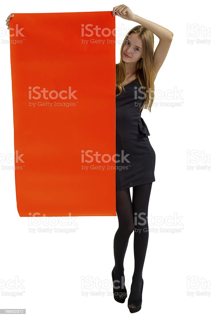 Girl with an orange placard royalty-free stock photo
