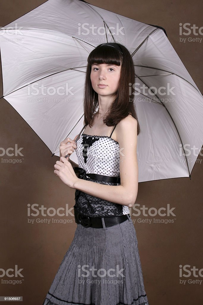 girl with an umbrella royalty-free stock photo