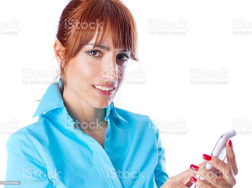 Girl with android royalty-free stock photo
