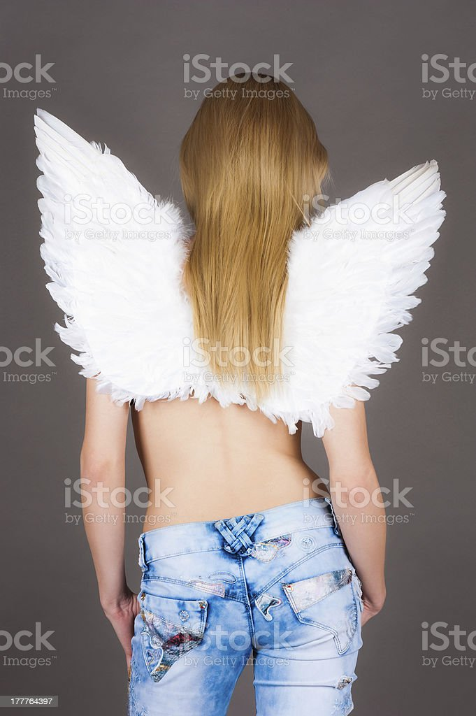 girl with angel wings royalty-free stock photo