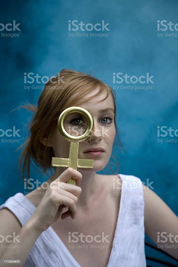 girl with ankh stock photo