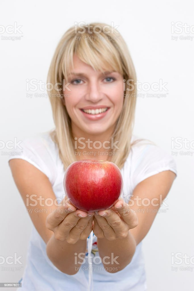 girl with apple royalty-free stock photo