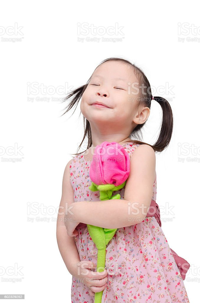 girl with artificial rose flower over white stock photo