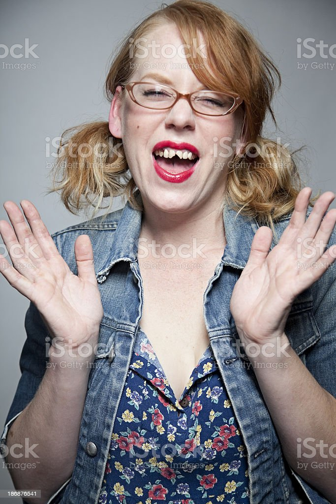 Girl with bad teeth laughing stock photo