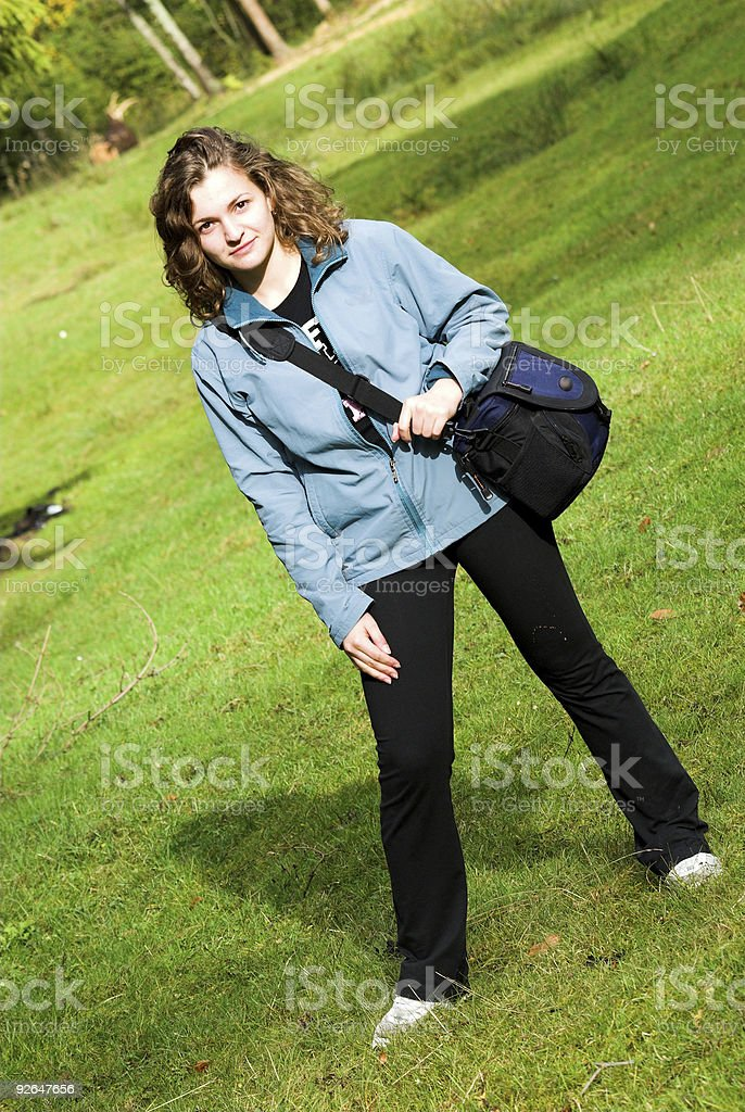 Girl with bag royalty-free stock photo