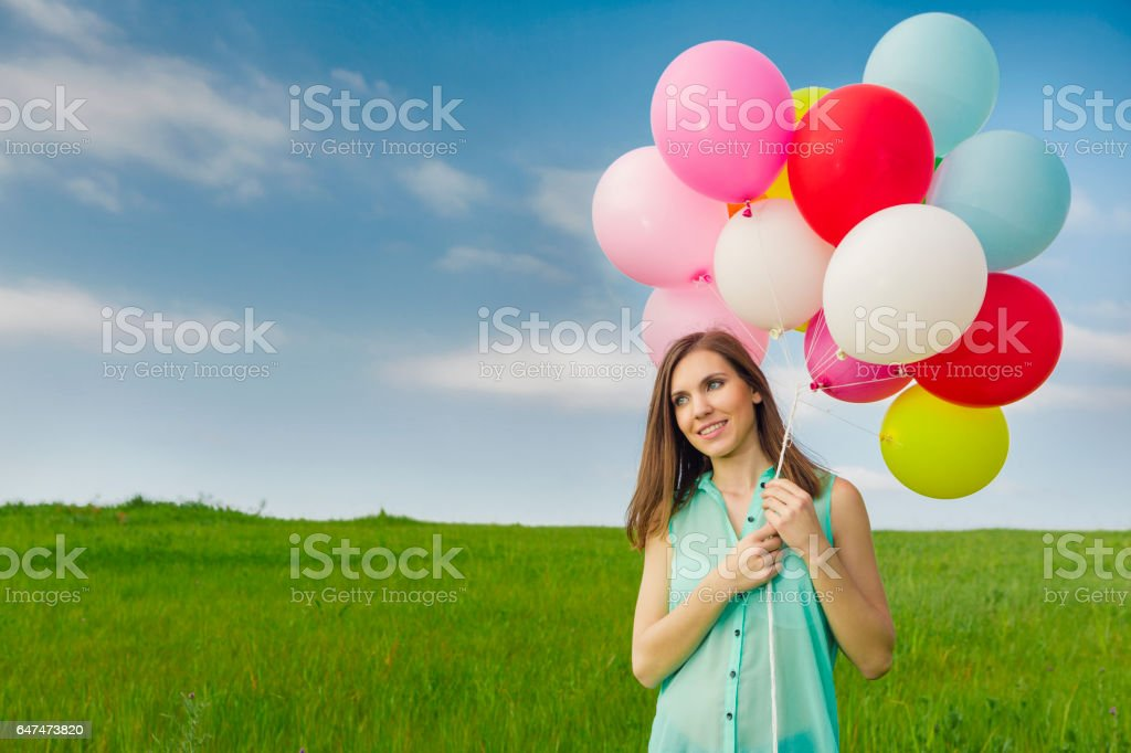 Girl with Ballons royalty-free stock photo