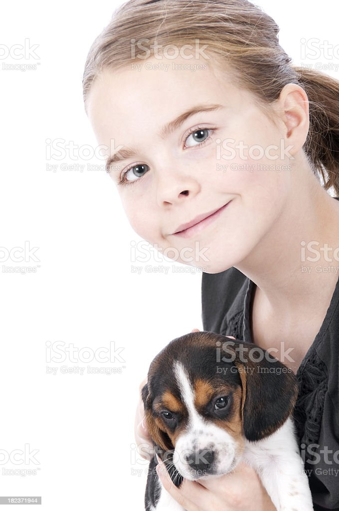Girl With Beagle Pup On White Background royalty-free stock photo