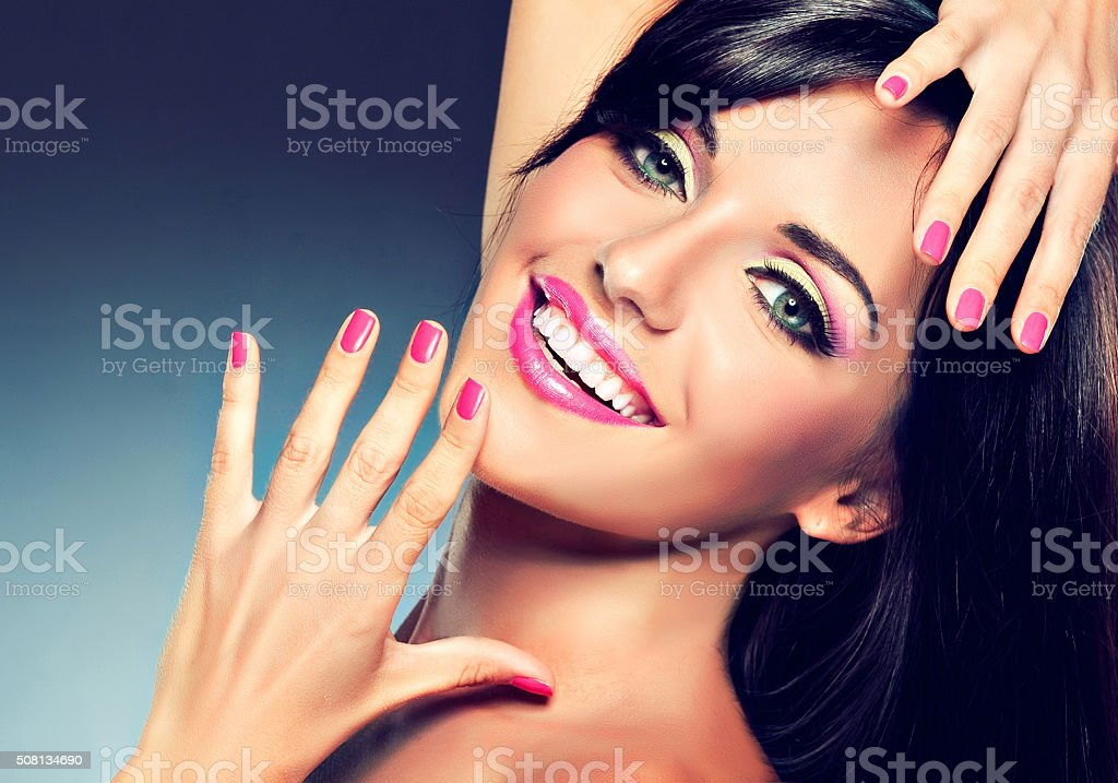 Girl with beautiful and happy smile. stock photo