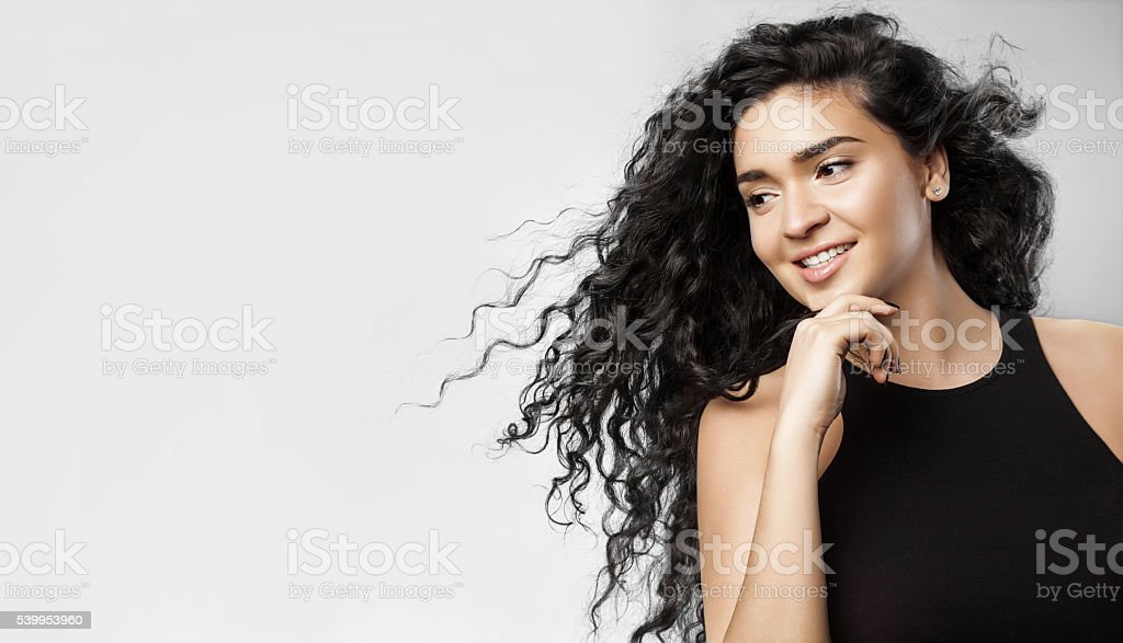 Girl with beauty black hair with natural make-up stock photo