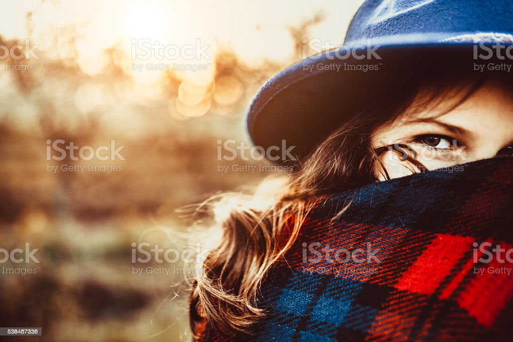 Girl with big hat and beaytiful eyes stock photo