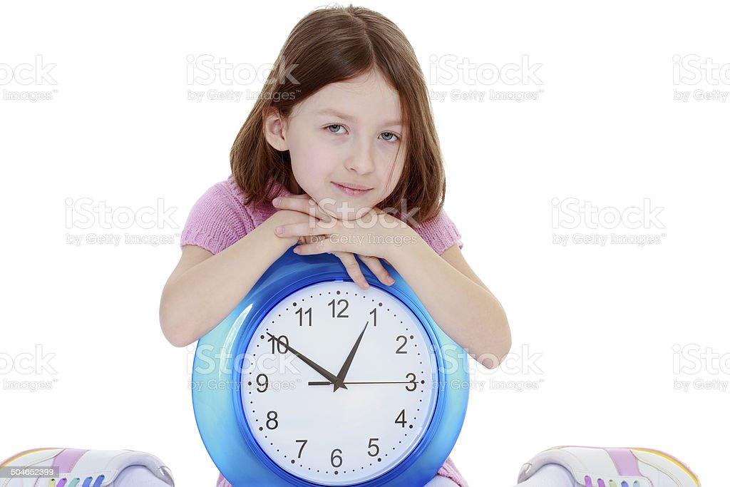 Jeune fille avec la Grande tour de l'horloge photo libre de droits