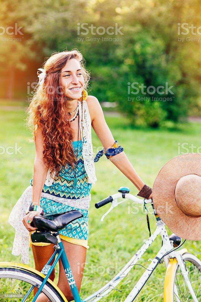 Girl with bike stock photo