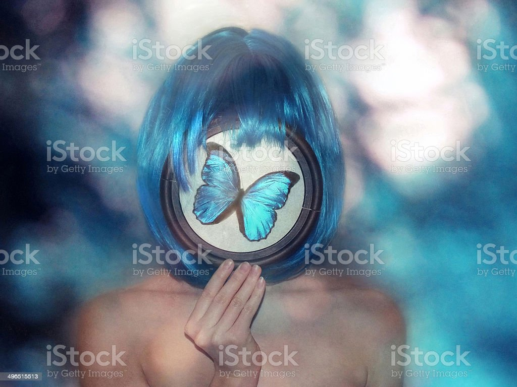 Girl with blue hair royalty-free stock photo