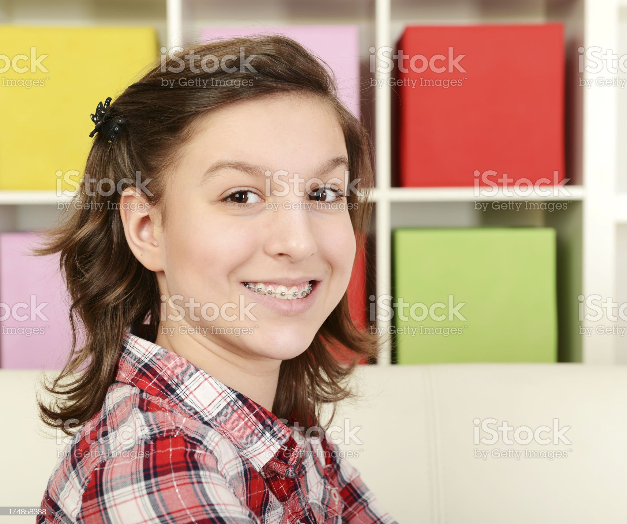 girl with braces royalty-free stock photo