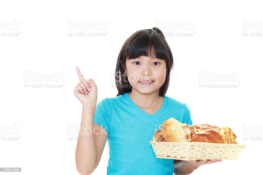 Girl with breads stock photo