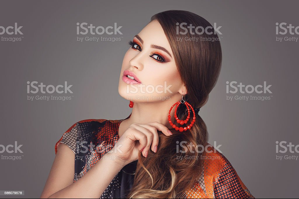 Girl with bright makeup stock photo