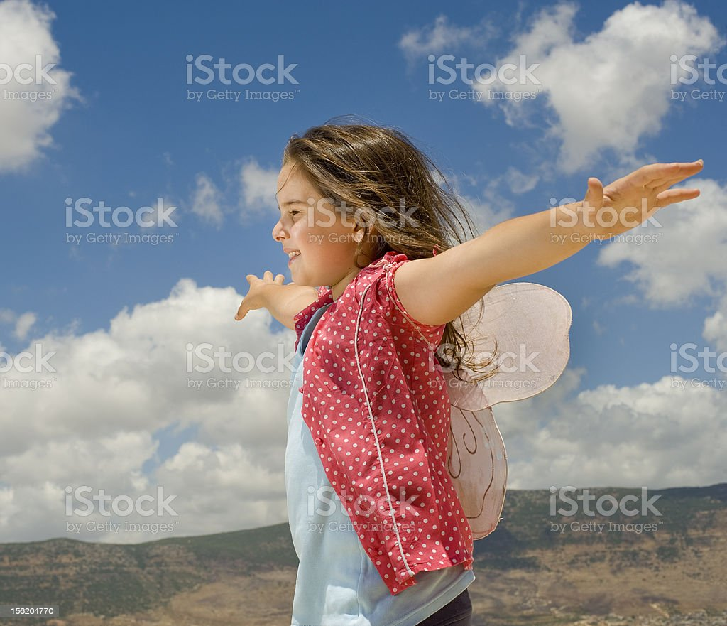 girl with butterfly wings stock photo