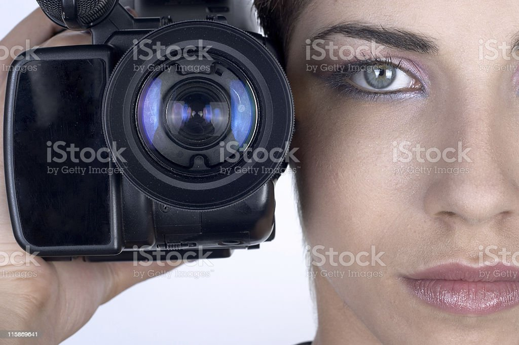 Girl with camera royalty-free stock photo