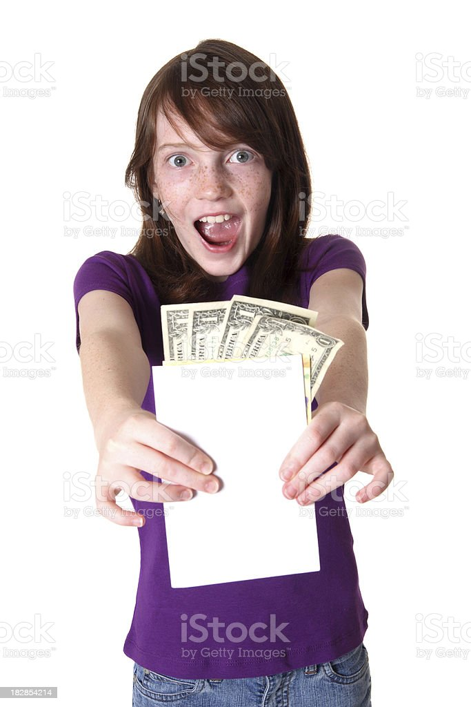 Girl with Card and Money royalty-free stock photo