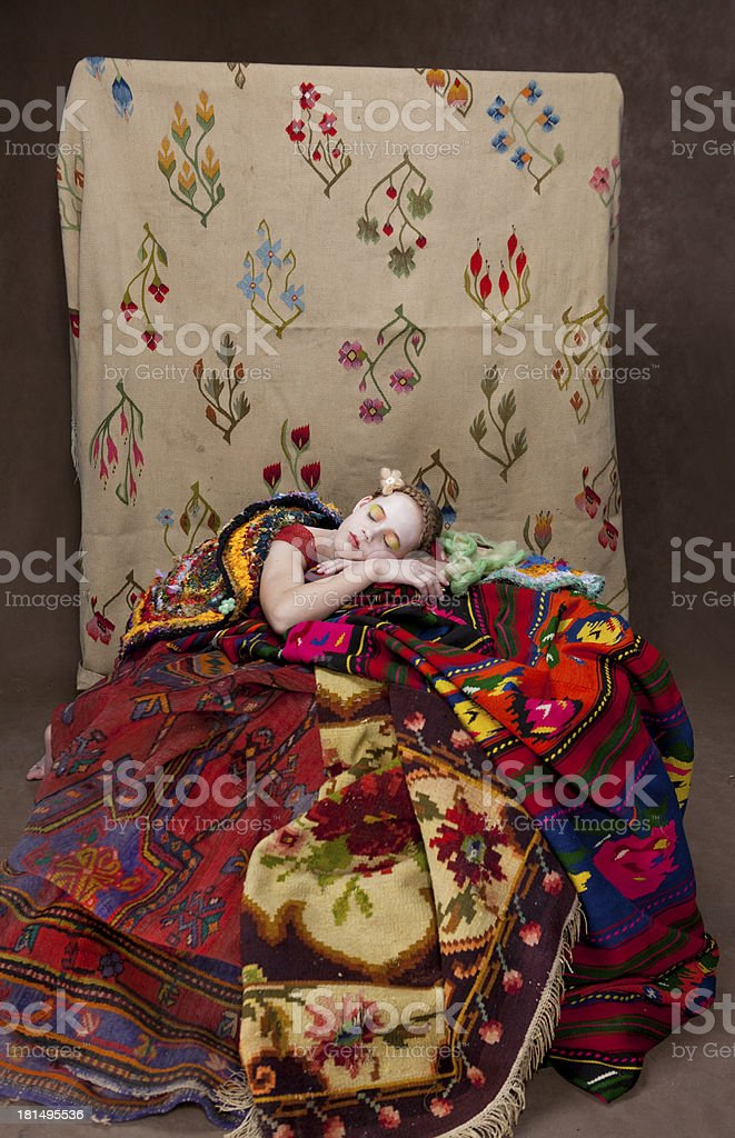 girl with carpets 5 royalty-free stock photo