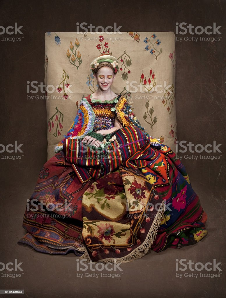 girl with carpets royalty-free stock photo