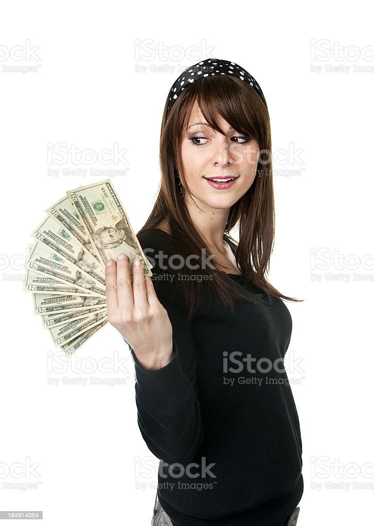 Girl With Cash royalty-free stock photo