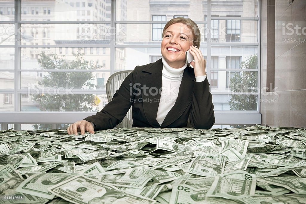 girl with cash stock photo