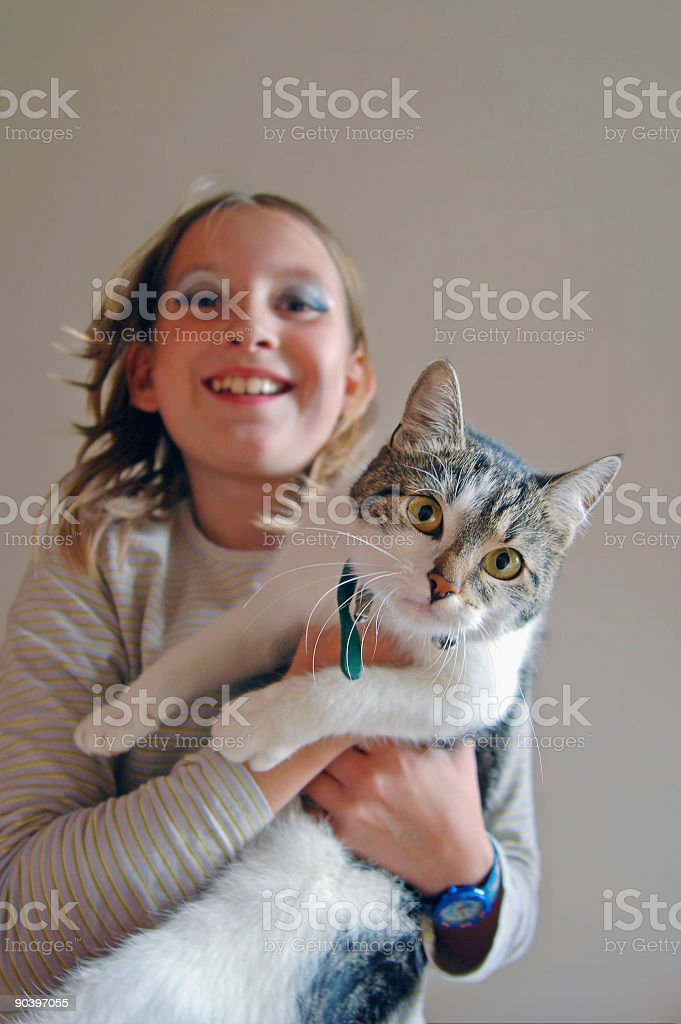 Girl with Cat in the arm stock photo
