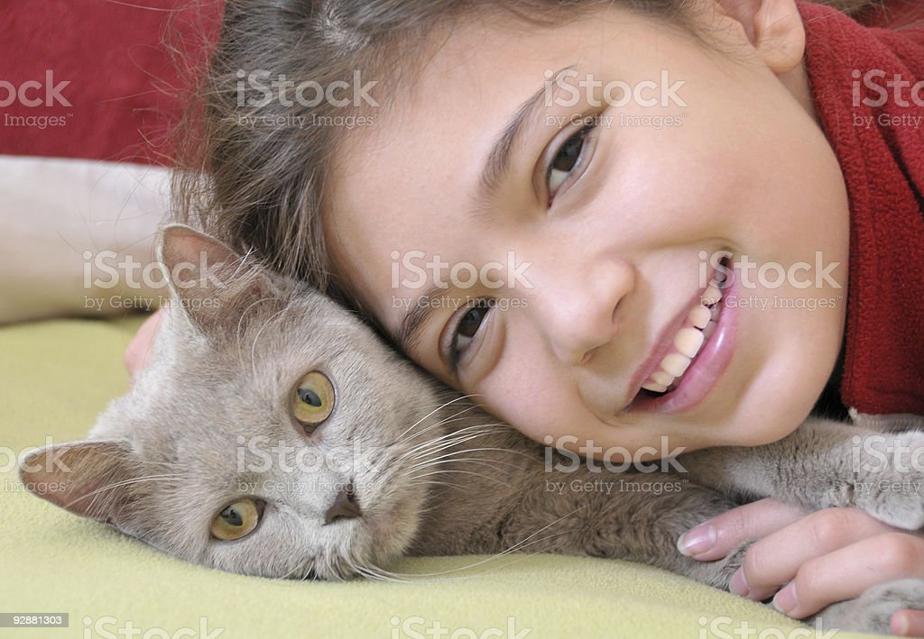 Girl with cat royalty-free stock photo