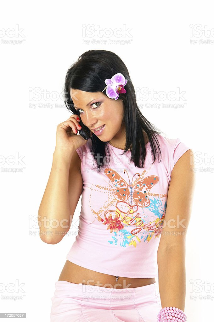 Girl with cellphone royalty-free stock photo