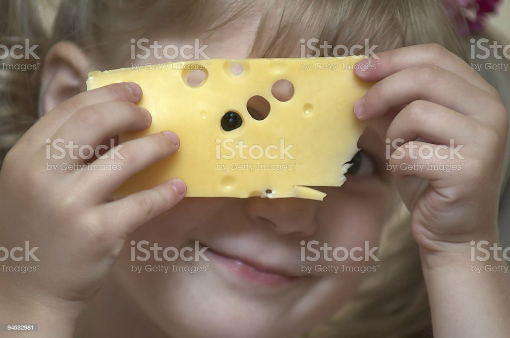 Girl with cheese royalty-free stock photo