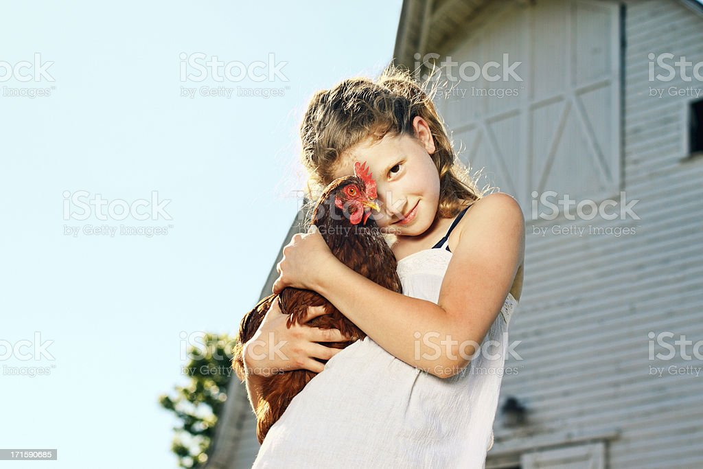 Girl with Chicken stock photo