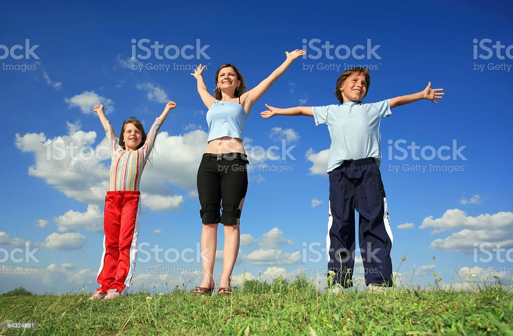 Girl with children outdoor royalty-free stock photo