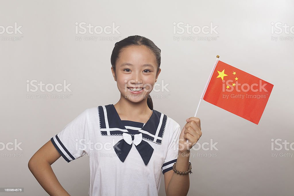 Girl with Chinese flag, Studio royalty-free stock photo