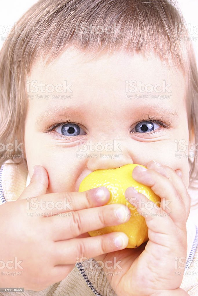 Girl with citron royalty-free stock photo