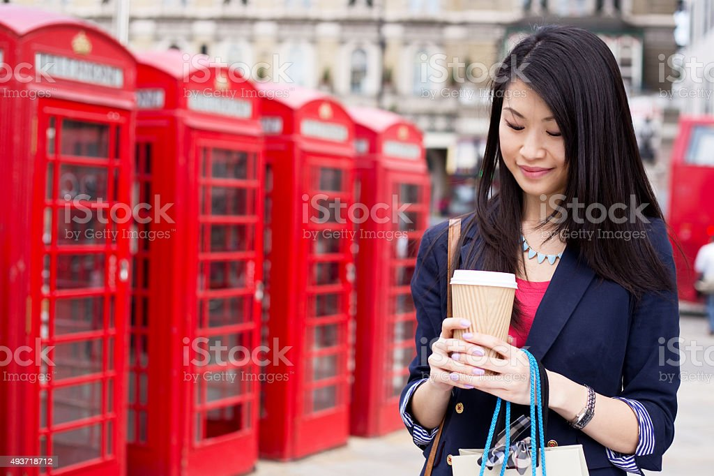 girl with coffee in London royalty-free stock photo