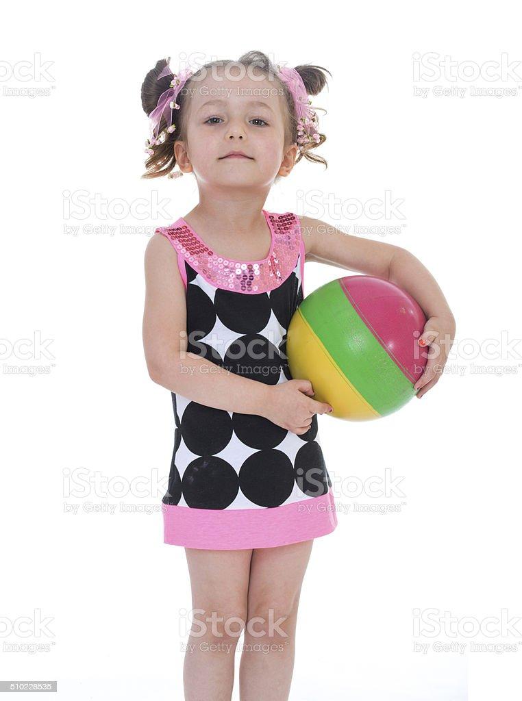 Fille avec ballon coloré photo libre de droits