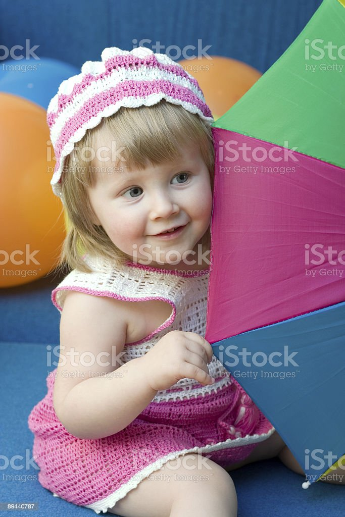girl with colorful umbrella royalty-free stock photo