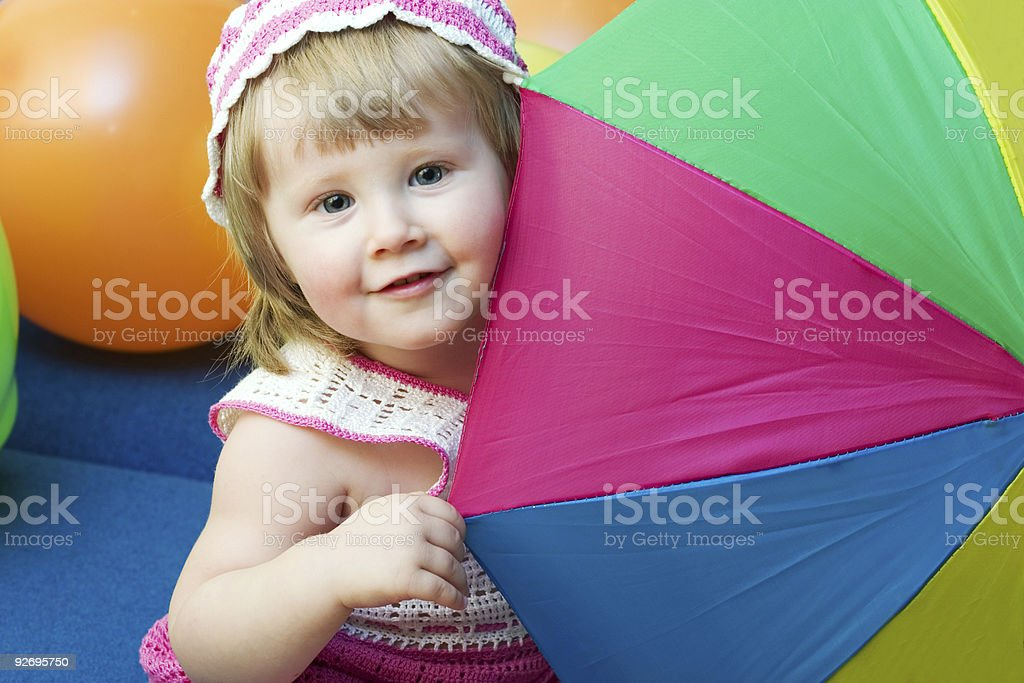 girl with colorfull umbrella royalty-free stock photo