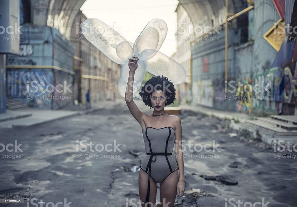 girl with condom ballons royalty-free stock photo