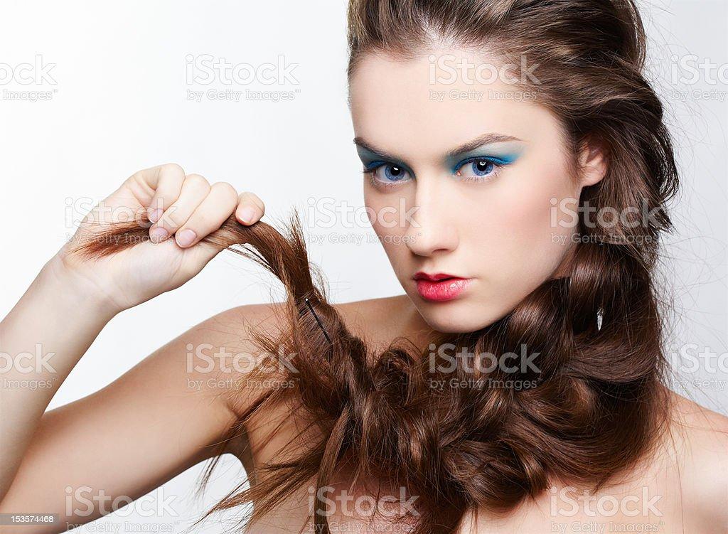 girl with creative hair-do royalty-free stock photo