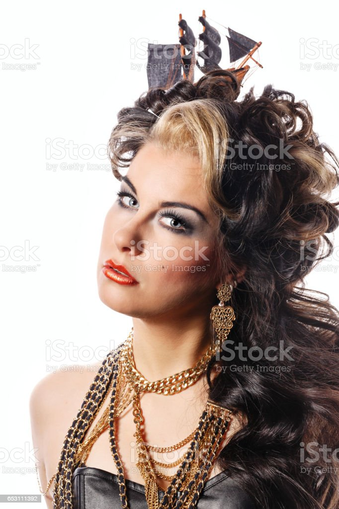 Girl with creative styling. Retro style. stock photo