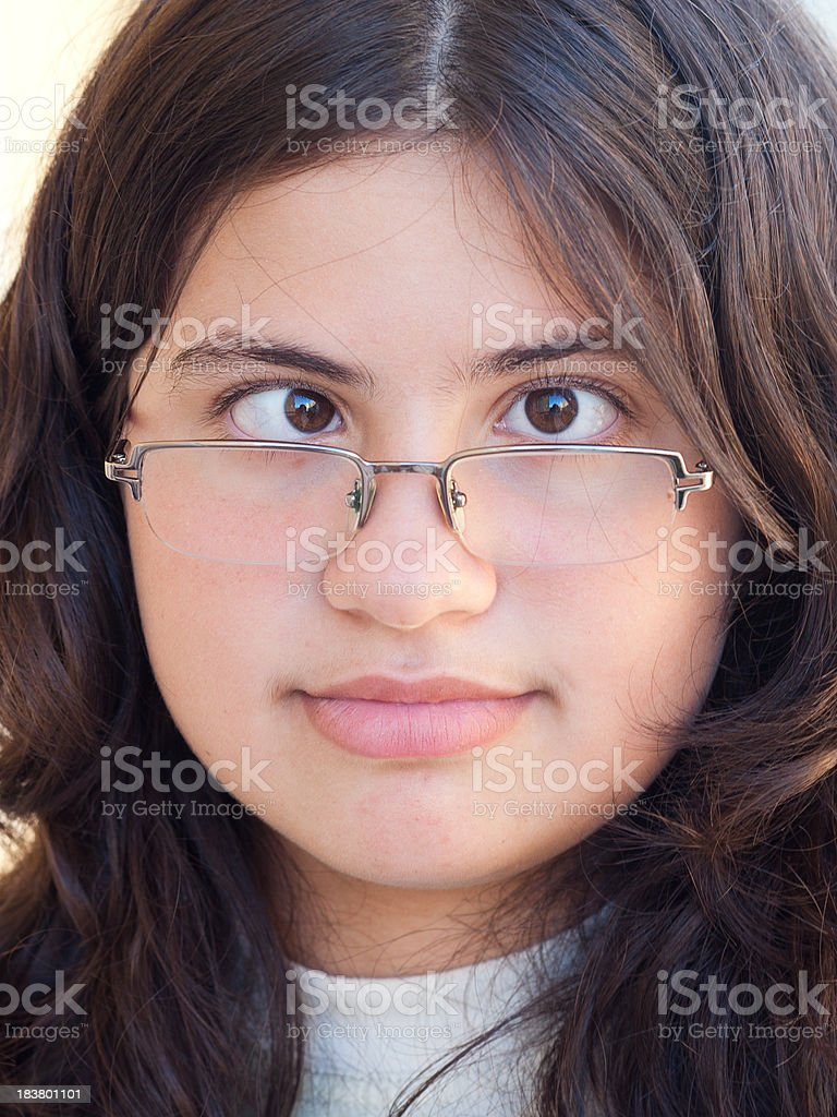 Girl with cross-eyed expression royalty-free stock photo