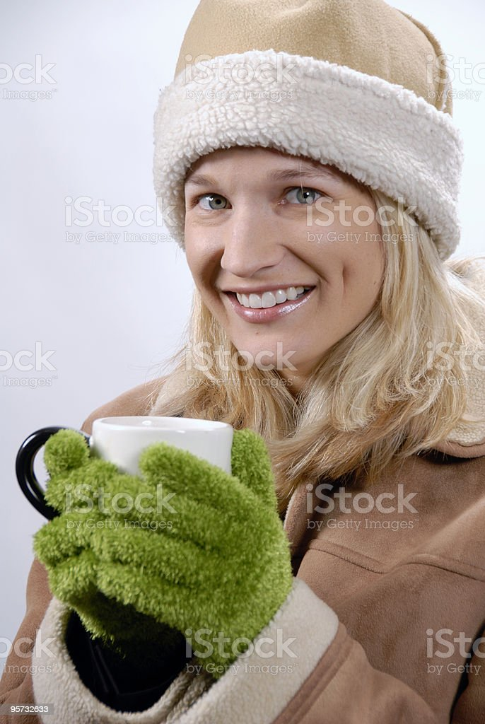 Girl with cup of cocoa, cofee, tea royalty-free stock photo