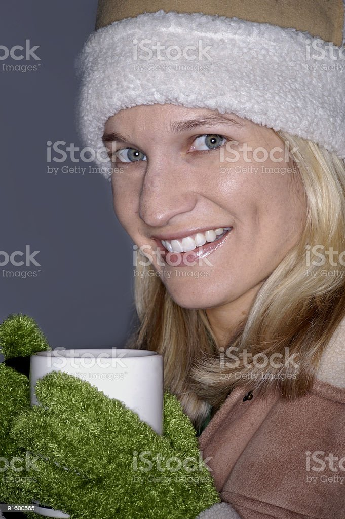girl with cup of soup, hot cocoa, chocolate, coffee royalty-free stock photo