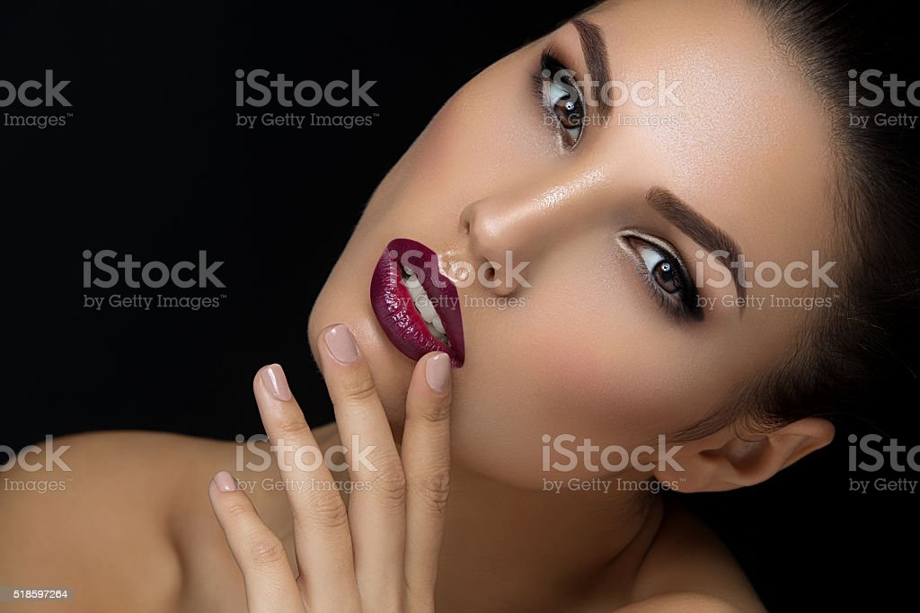 Girl with dark lips stock photo