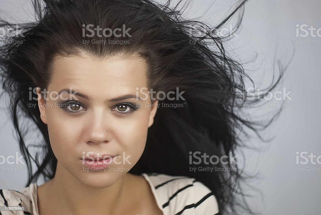 girl with developing hair stock photo