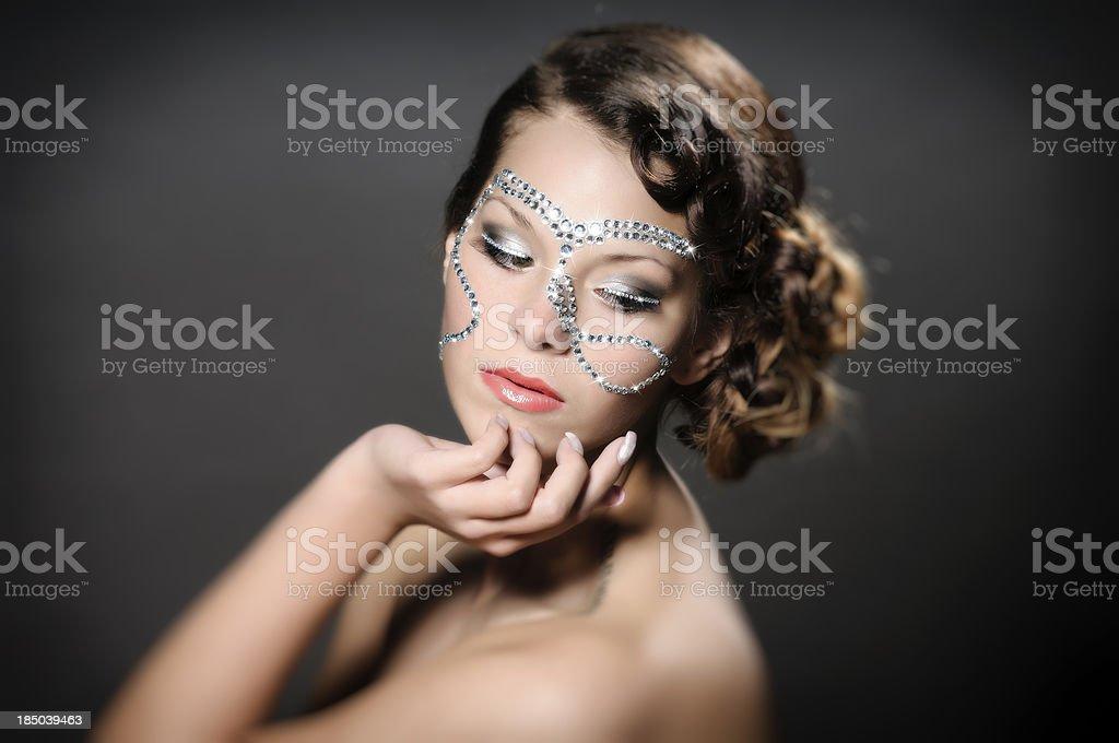 Girl with diamond make up royalty-free stock photo